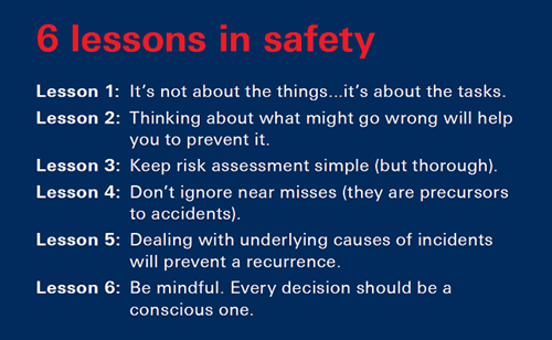 6 lessons in safety - free workshops- bsc