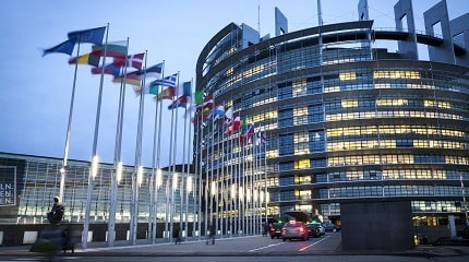 Facade and entrance of the European Parliament at dusk Strasbourg, France SMLL.jpg